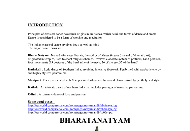 bharat natyam essay New women r k narayans the guide english literature essay she spends her one or two hours by studying natya shastra of bharat through the 'bharat natyam.