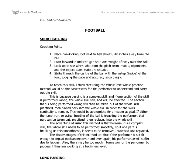 football coaching points a level physical education sport  document image preview