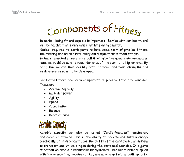 give the components of physical fitness
