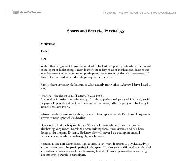 sports and exercise psychology motivation a level physical  document image preview