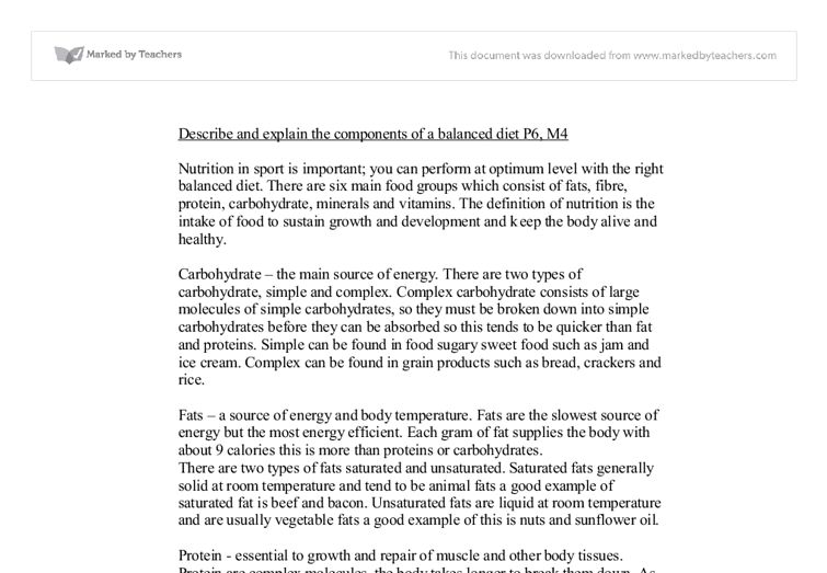 Describe And Explain The Components Of A Balanced Diet P M  A  Document Image Preview