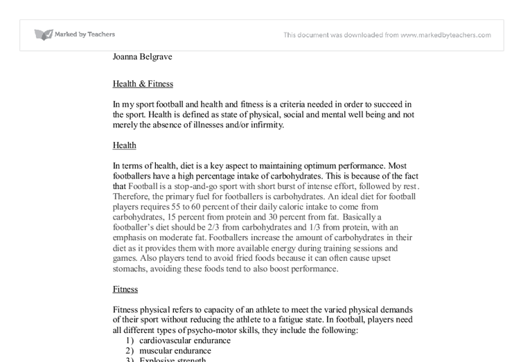 Health  Fitness Essay  Alevel Physical Education Sport  Document Image Preview