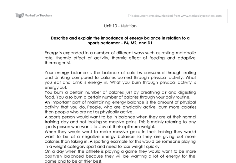 describe and explain the importance of energy balance in relation  document image preview