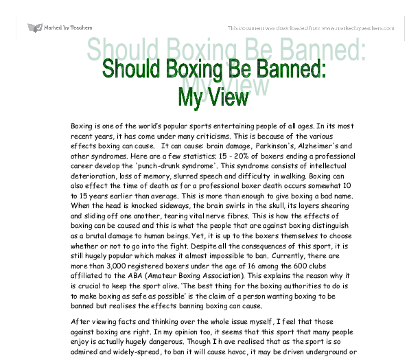 dangerous sports should not be banned essay