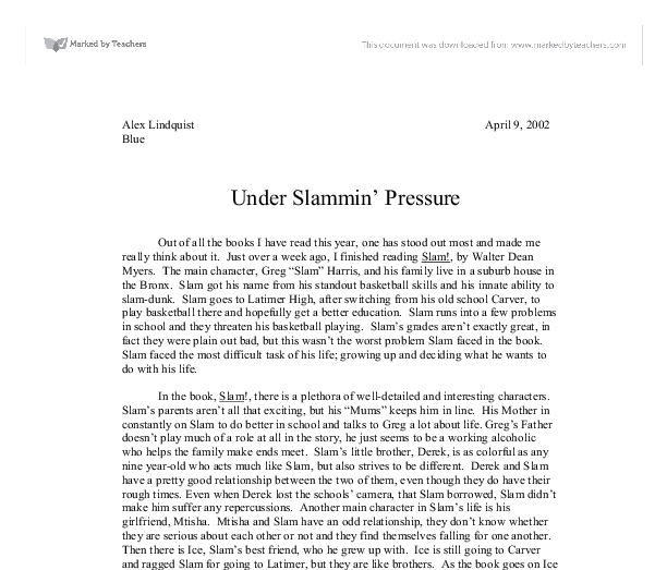 "under slammin pressure - slam by walter dean myers essay Did you know that hoops was written by walter dean myers who also wrote other amazing books such as ""slam"", ""monster"", and ""the greatest"" three great sports books related to hoops i had the book hoops i believe it was a tremendous book because it was fun and it connected to people who play sports and also to people who don't play."