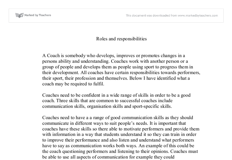Roles and responsibilities of a sports coach essay