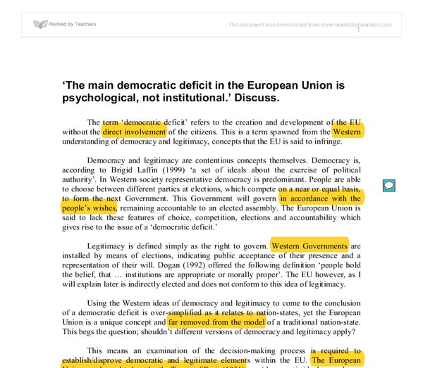 the democratic deficit in the eu essay