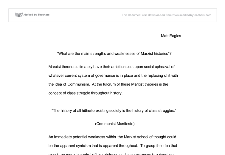 what are the main strengths and weaknesses of marxist histories  document image preview