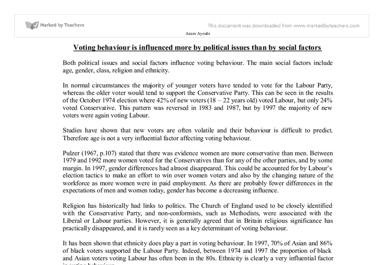 voting behaviour essay Study theme 1d: the electoral system, voting & political attitudes 2000 examine the factors other than the media which affect voting behaviour 2001 to what extent does social class influence voting behaviour 2002 the additional member system is an improvement on first past the post because it.