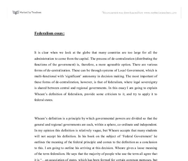 Federalism Essay  Alevel Politics  Marked By Teacherscom Document Image Preview Research Essay Thesis also Synthesis Essay Prompt Examples Of A Thesis Statement For An Essay