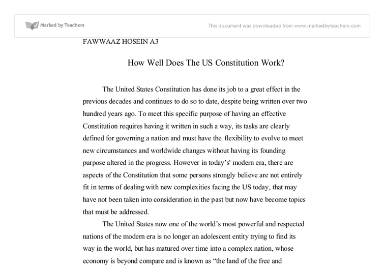 how well does the us constitution work a level politics marked document image preview