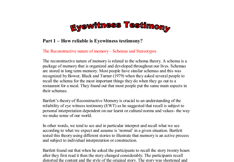 the importance of eyewitness testimony essay Importance of eyewitness essay examples 2,670 total results an introduction to the importance of the eyewitness testimony 785 words 2 pages.