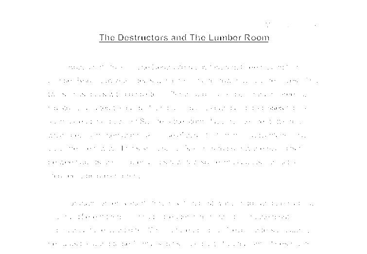 the destructors and the lumber room essay If you order your research paper from our custom writing service you will receive a perfectly written assignment on the lumber room by saki what we need.