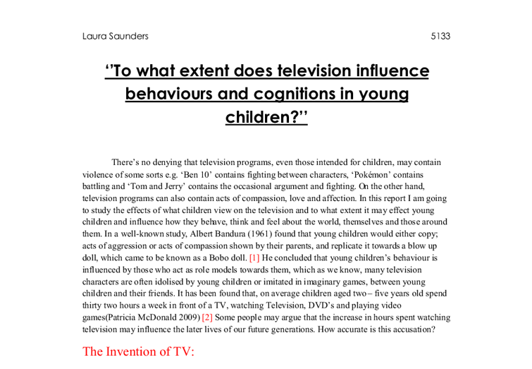 essay-influence of television on children A persuasive essay about the influence television has on children a persuasive essay about the influence television has on children obesity is a growing problem.