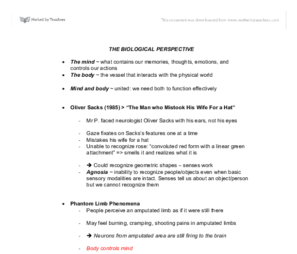 PSYCHOLOGY CHAPTER 2 – The Biological Perspective