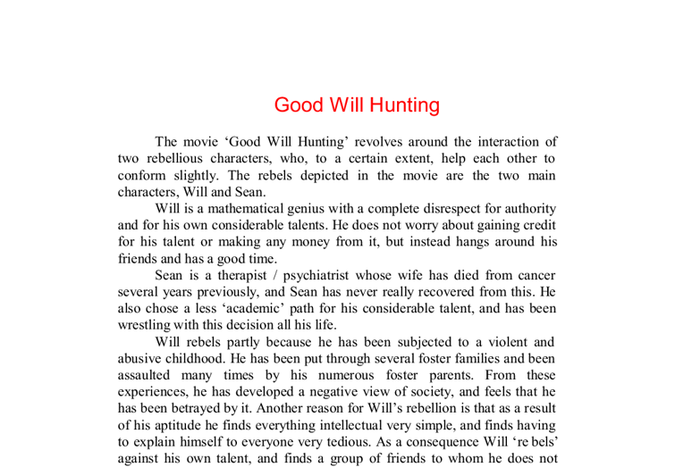 good will hunting essay