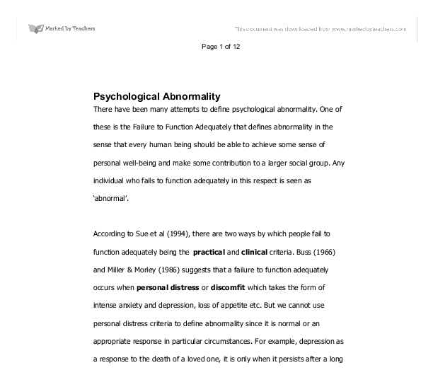 Abnormal psychology paper