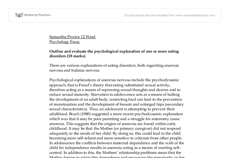 Psychology research paper eating disorders