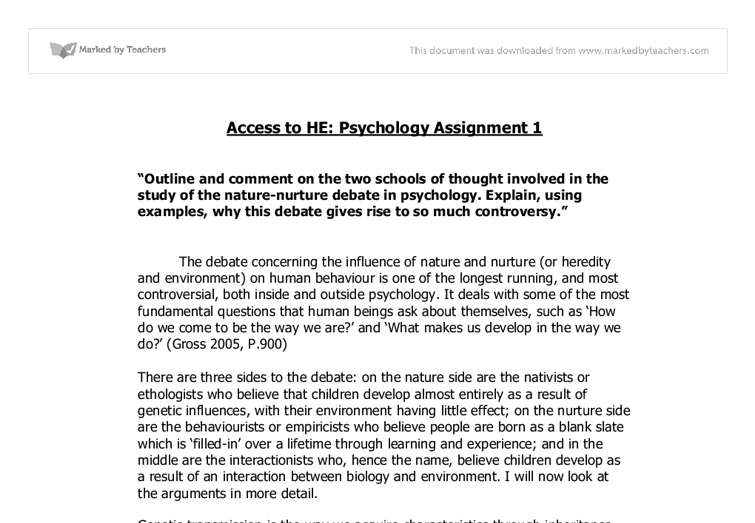 psychology nature nurture debate a level psychology marked  document image preview