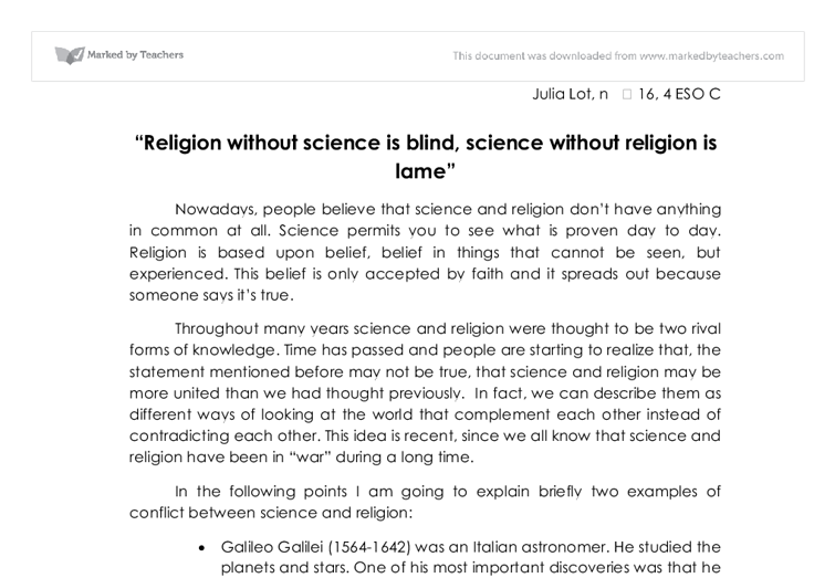 religion without science is blind  alevel religious studies  document image preview