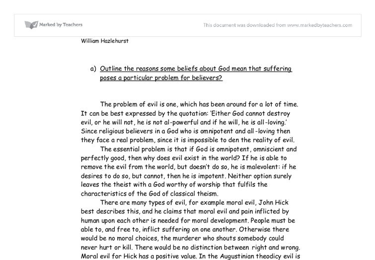 rs evil and suffering essay a level religious studies  document image preview