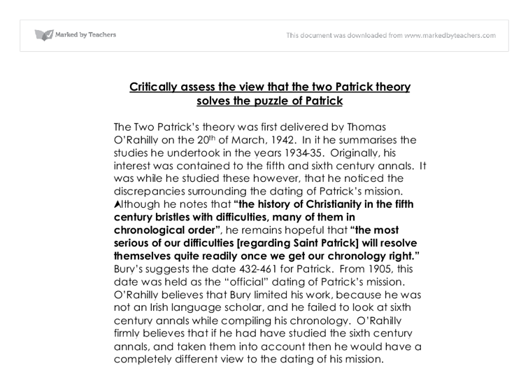 the two patrick theory solves the puzzle of patrick essay Developments over the past decade in schema theory and case-based reasoning resonate with  that solves every  see, eg, patrick winston.
