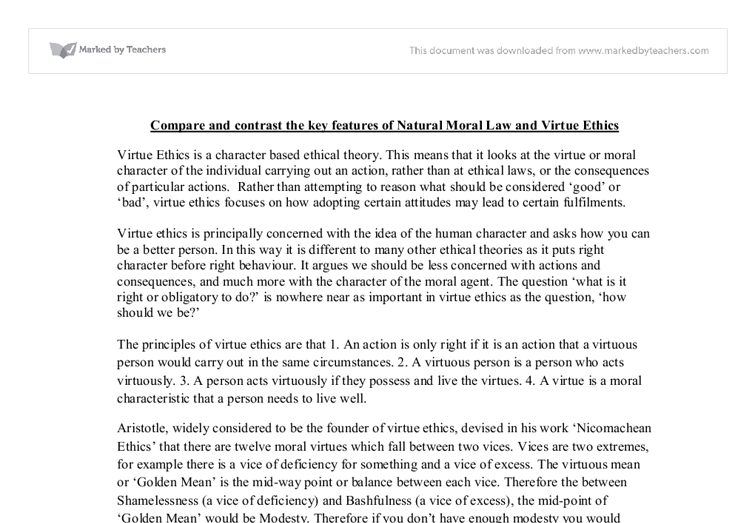 compare and contrast the key features of natural moral law  document image preview
