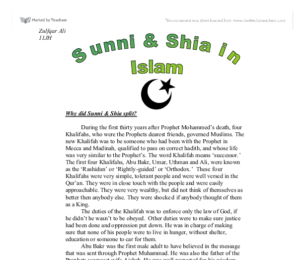 why did sunni shia split essay Essay on the shiites and their role in iraq become familiar with the shia-sunni split from both historical and present-day perspectives funding for religion & ethics newsweekly is provided by lilly endowment.
