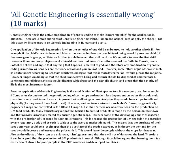 all genetic engineering is essentially wrong discuss a level document image preview