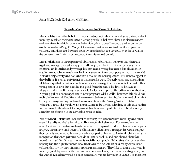 moral relativism 2 essay Free moral relativism papers, essays, and research papers.