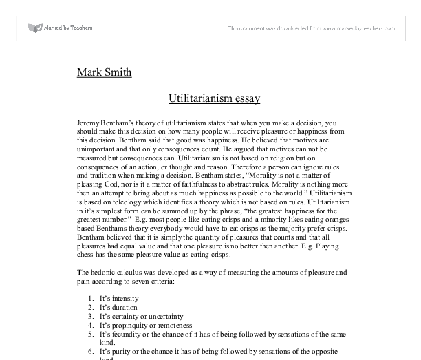 utilitarianism essay a level religious studies philosophy  document image preview