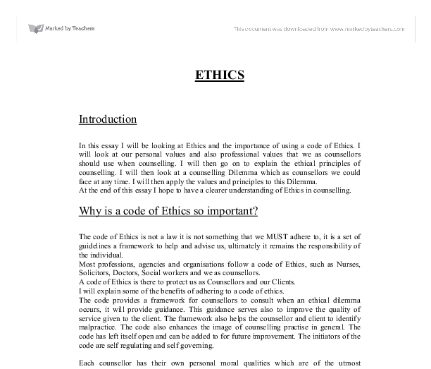 Modern Science Essay Document Image Preview Sample Essays For High School Students also Custom Essay Paper In This Essay I Will Be Looking At Ethics And The Importance Of  What Is A Thesis For An Essay