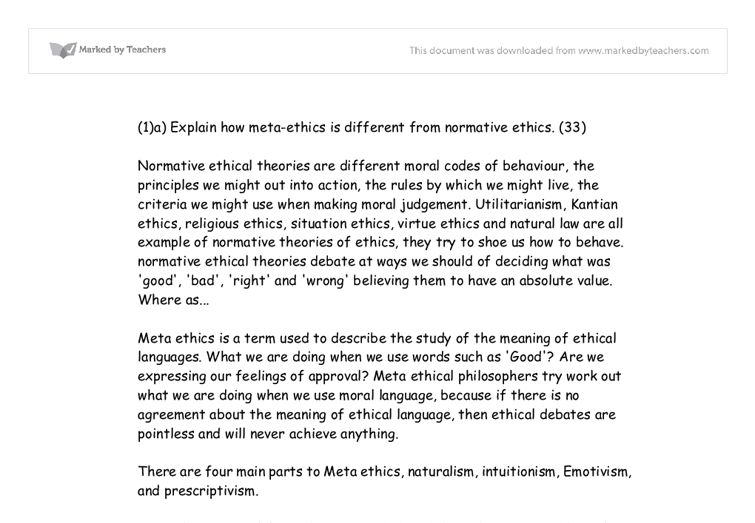 meta ethics a level religious studies philosophy marked by  document image preview