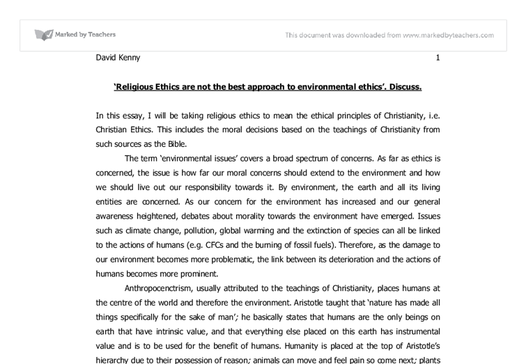 environmental ethics essay