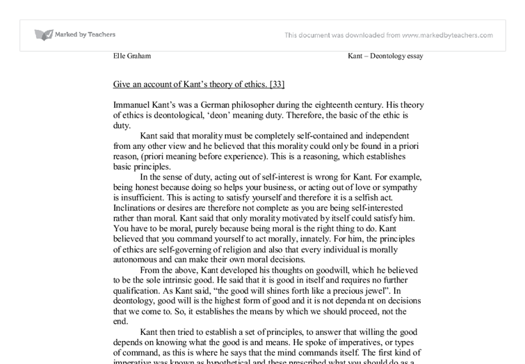 give an account of kants theory of ethics essay Hume's essay of 1757  theorists were trying to take account of an emerging consensus that  no description that we can give will adequately.