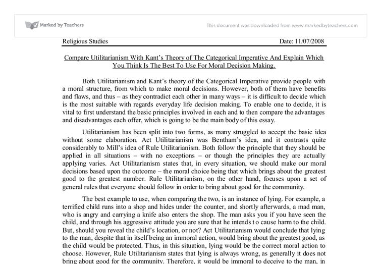 compare utilitarianism kant s theory of the categorical  document image preview
