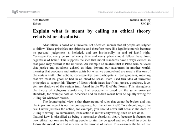 ruth benedict ethics are relative essay Moral relativism essay ethics, but instead make claims relative to social  by its critics as anthropologist ruth benedict illustrates in patterns of moral.