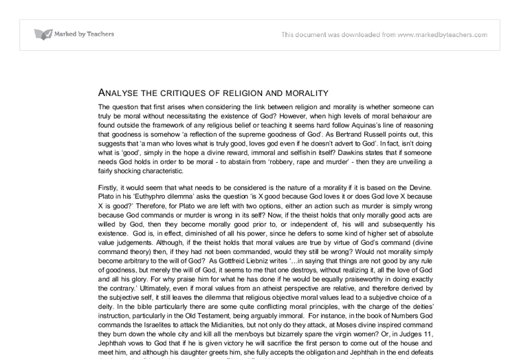 anaylse of the critiques of religion and morality a level document image preview