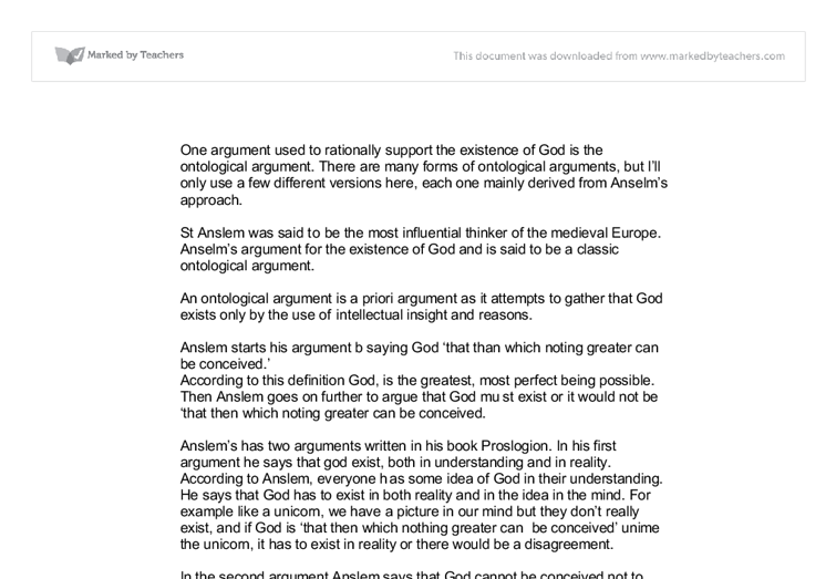 explain anselm ontological argument a level religious studies document image preview