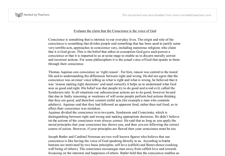 evaluate the claim that conscience is the voice of god  alevel  document image preview