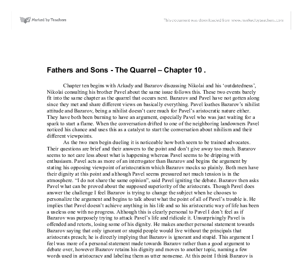 fathers and sons the quarrel chapter 10 essay Fathers and sons - the quarrel - chapter 10   sign up to view the whole essay and download the pdf for anytime access on your computer, tablet or smartphone.