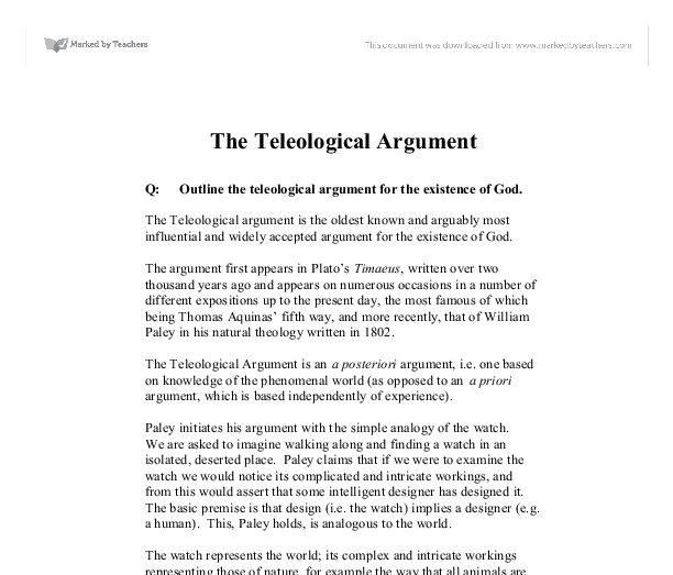 teleological argument essays Are you stuck with an essay assignment on teleological argument if yes, simply refer to the sample below to guide you on how to write an impeccable paper.