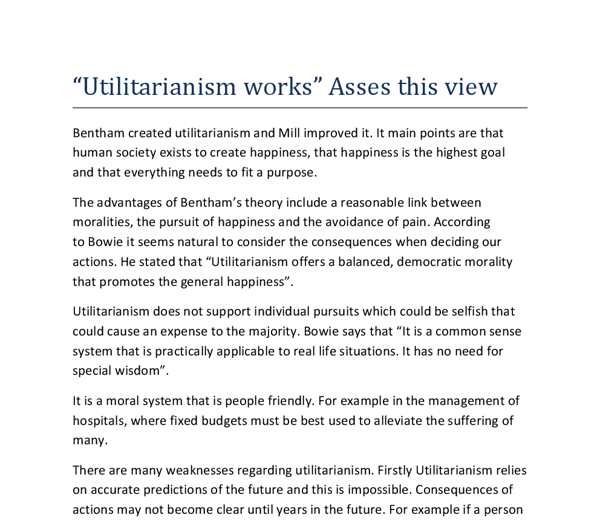 philosophy essay on utilitarianism