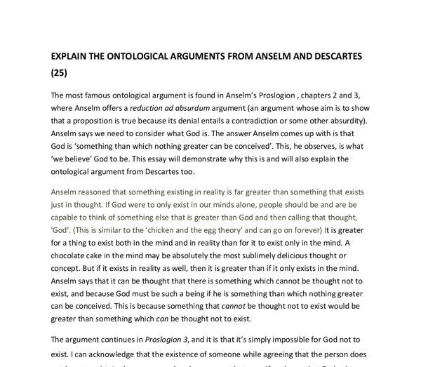 explain the ontological arguments from anselm and descartes a  document image preview