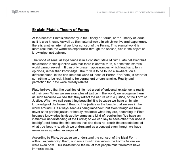explain platos theory of forms essay Essay about explain plato s theory of the formsexplain plato's theory of 'forms' plato's theory of the forms can.