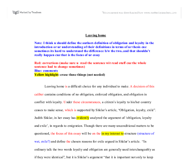 leaving home a corrected essay a level religious studies  document image preview