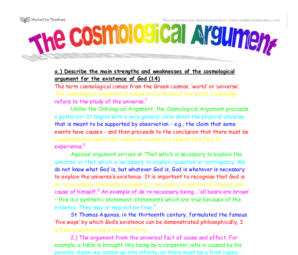 ontological argument essay conclusion The ontological argument is the only argument that uses reason to justify the belief and that is also an a priori argument as it relies on knowledge gained from reasoning and not from empirical knowledge.