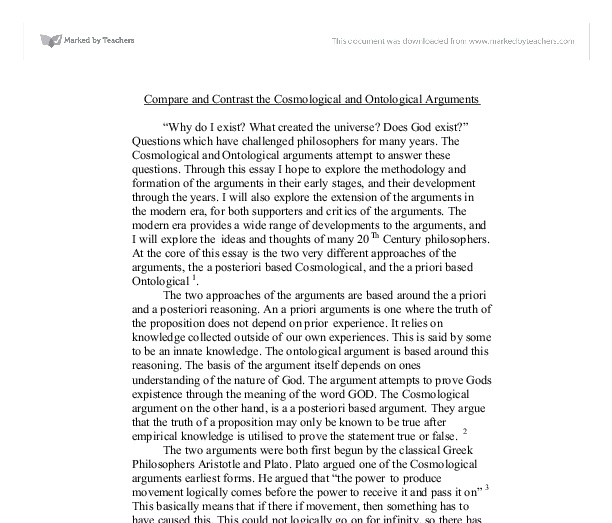 compare and contrast the cosmological and ontological arguments document image preview