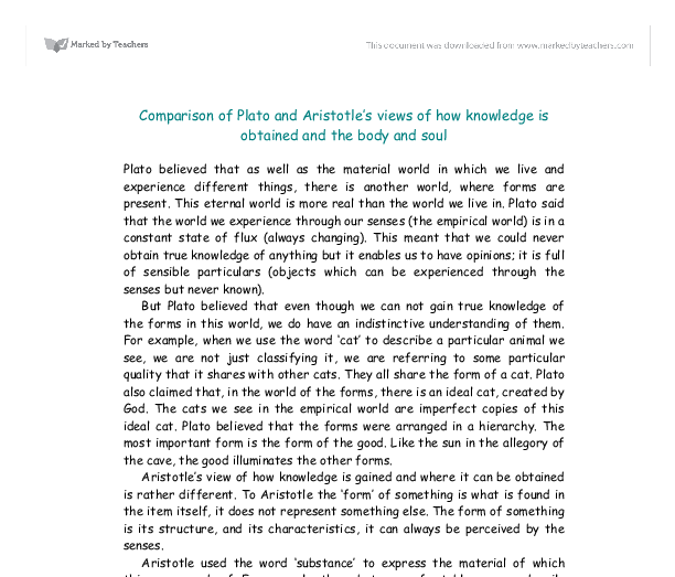 plato and aristotle comparison essay