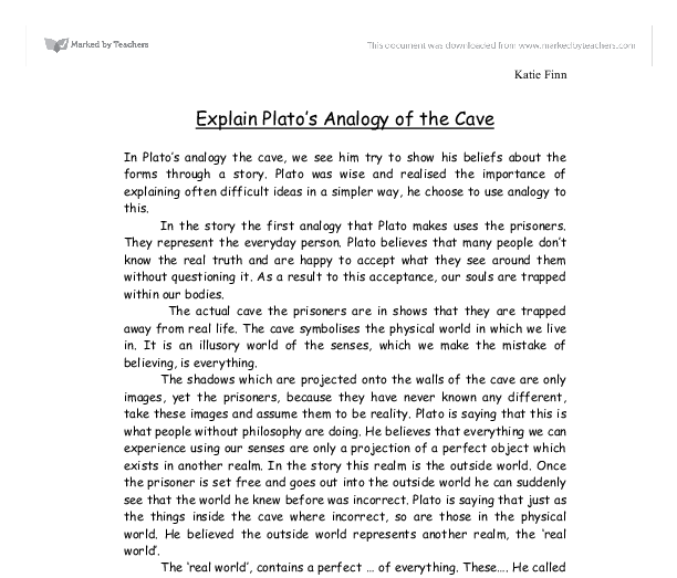 explain plato s analogy of the cave a level religious studies document image preview - Example Of Analogy Essay